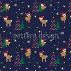 Lamas im Weihnachtswald Nahtloses Vektormuster
