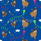 Lamas are flying kites Seamless Pattern