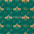 Lamas in love within a meadow of flowers Seamless Vector Pattern