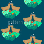 Lamas in Heaven of flowers Vector Pattern