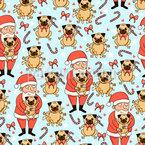 Weihnachts-Möpse und Weihnachtsmänner Nahtloses Vektormuster
