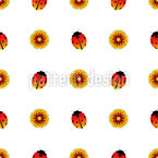 Ladybugs and Sunflowers Seamless Vector Pattern Design