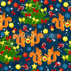Esquilos de Natal Design de padrão vetorial sem costura