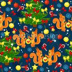 Scoiattoli di Natale disegni vettoriali senza cuciture