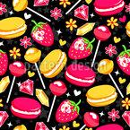 Erdbeeren und Lutscher  Nahtloses Vektormuster