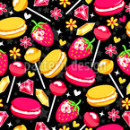 Strawberries and Lollipops Seamless Pattern