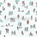 Winter People Seamless Vector Pattern