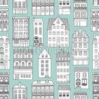 Stadt-Häuser Nahtloses Vektormuster