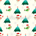 Christmas Birds And Trees Repeat Pattern