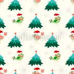 Weihnachtsvögel und Tannenbäume Rapportmuster