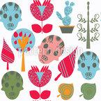 Cráneos de azúcar y cactus Estampado Vectorial Sin Costura