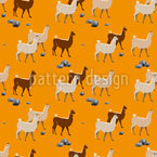 Lamas in Peru Vector Pattern