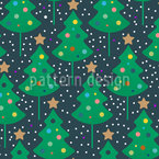 Friendly Christmas Trees Vector Pattern