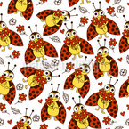 Marienkäfer und Blumen Muster Design