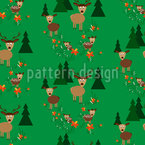 Deer with his family on a glade Pattern Design
