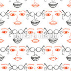 Crazy faces Vector Pattern