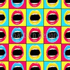 Lábios pop art Design de padrão vetorial sem costura