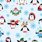 Winter penguin fun Vector Pattern