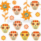 Sugar skulls and Sunflowers Seamless Vector Pattern Design