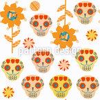 Zucker-Schädel und Sonnenblumen Nahtloses Vektormuster