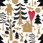 Gold Winter Forest Seamless Vector Pattern Design
