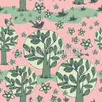Birds On The Trees Repeating Pattern