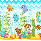 Niedliche Aquarium Tiere Musterdesign