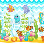 Niedliche Aquarium Tiere Nahtloses Vektormuster