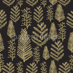 Golden Christmas forest Seamless Pattern
