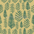 Green Christmas forest Seamless Vector Pattern