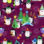 Sportliche Pinguine Nahtloses Vektormuster