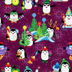 Sporty penguins Vector Pattern