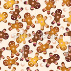 Gingerbread men and pearls Seamless Vector Pattern Design