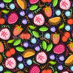 Leckere Früchte und Beeren Nahtloses Vektormuster
