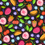 Yummy Fruits and Berries Seamless Vector Pattern Design