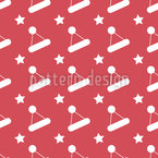 Chapéu de Papai Noel e estrelas Design de padrão vetorial sem costura