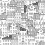 Copenhagen Houses Seamless Vector Pattern Design