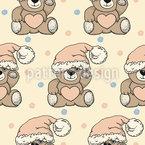 Weihnachts Teddy Nahtloses Vektormuster