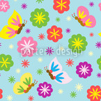 Party Flowers Seamless Vector Pattern Design