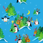 Penguins and deer in the Christmas forest Repeat