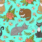 Cats in spring Seamless Vector Pattern Design