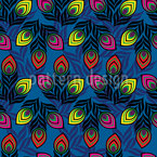 Fantasy Peacock Butterfly Seamless Vector Pattern