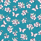Doodle Cherry Blossoms Vector Pattern
