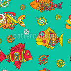 Gear Fishes Seamless Vector Pattern Design