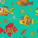 Zahnradfische Nahtloses Vektormuster