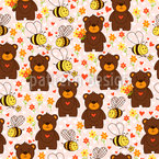 Cute Bears And Bees Vector Ornament