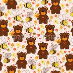 Niedliche Bären und Bienen Nahtloses Vektormuster
