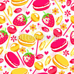 Tasty Sweets and Strawberries Seamless Vector Pattern