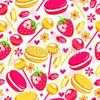 Doces saborosos e morangos Design de padrão vetorial sem costura