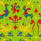 Traditional Birds And Curlicue Seamless Vector Pattern Design